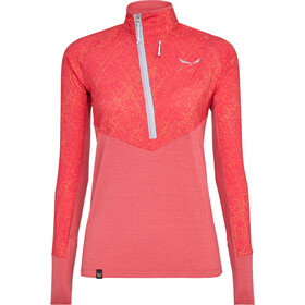 SALEWA Agner Hybrid Durastretch Camiseta manga larga con media cremallera Mujer, rouge red